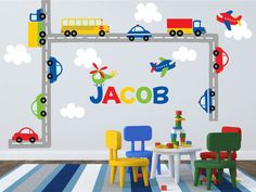 Transportation theme nursery, transportation theme kids room    Worried about the decals not sticking? Try our product risk free! 100% MONEY BACK GUARANTEE within 30 days of receiving your shipment. If your decals have any trouble sticking we will give you the choice of replacements or a full refund!     This colorful scene of transportation vehicles is the perfect way to liven up your kids playroom! This set has everything you need! With a school bus, polices cars, a plane, and a…
