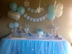 Frozen Inspired Tutu Table Skirt Frozen Party by PiaMiaBoutique