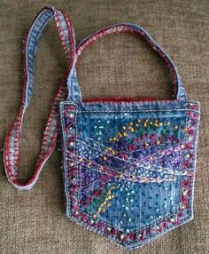 Denim Pocket Bag With Abstract French Knot Embroidery Design French Knot Embroidery, Embroidery Fabric, Embroidery On Denim, Jean Crafts, Denim Crafts, Jean Pocket Purse, Blue Jean Purses, Denim Ideas, Recycled Denim