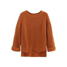 SheIn(sheinside) Brown Cuffed Sleeve Dip Hem Textured Sweater ($21) ❤ liked on Polyvore featuring tops, sweaters, khaki, long sleeve pullover, round neck sweater, brown tops, textured sweater and loose fitting tops