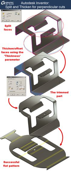 Graitec Autodesk Inventor Split and thicken for perpendicular cuts