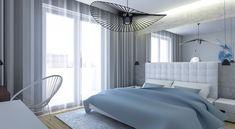 Sypialnia styl nowoczesny. Lustro w sypialni. Lampa Vertigo. Ekskluzywna sypialnia.
