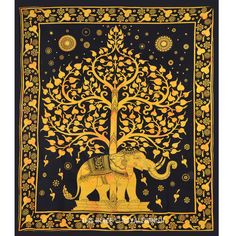 Black and Gold Elephant and Tree Hippie Tapestry Wall Hanging Bedspread on RoyalFurnish.com, $19.54