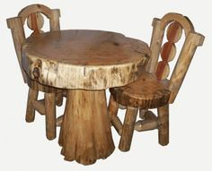 Rustic Wood Dining Tables 550x446 The Exoticness of Wooden Trunk or Wooden Stump Furniture