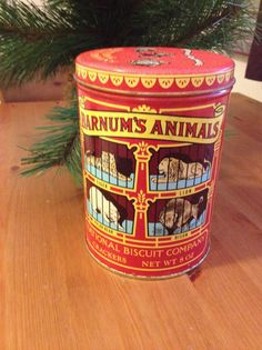 Candy Container Circus Tin Collectable by SageandDeesVintage