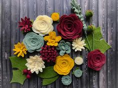 Wool Felt Flowers - Victorian Christmas Flowers - 19 Flowers & 24 leaves - DIY Christmas Wreaths, Garlands, Headbands - Metallic Gold add-on
