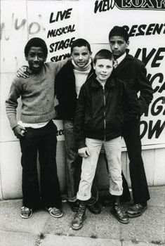 Our Future: multicultural punk fans outside The Roxy, London, England, United Kingdom, 1978, photograph by Caroline Coon.