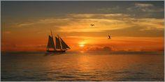 Monika Jüngling - Segelboot und Sonnenuntergang