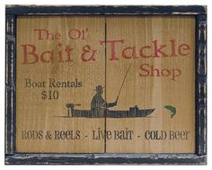 Primitive style Bait N Tackle Sign