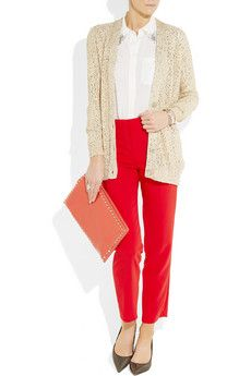 Sequin sweater and red pants. Great for holidays!