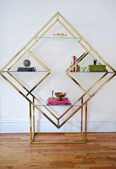 Vintage brass shelving unit