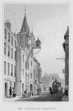 The Canongate Tolbooth, Edinburgh, engraved by Thomas Barber, 1829 (engraving) b/w photo) Wall Art & Canvas Prints by Thomas Hosmer Shepherd