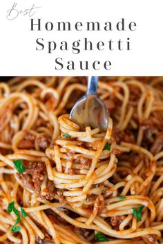 The most delicious homemade spaghetti sauce ever! This hearty recipe is rich and full of so much flavor. A delicious meat sauce that can be served over spaghetti noodles. Or if you're looking for a healthy alternative, serve this homemade sauce over zoodles!#spaghettisauce #homemadespaghettisauce #pastasauce | recipesworthrepeating.com Best Homemade Spaghetti Sauce, Spaghetti Recipes, Homemade Sauce, Spaghetti Noodles, Pasta Recipes, Beef Recipes, Sauce Recipes, Italian Recipes, Spagetti Sauce