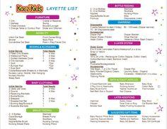 Layette List from Kacz Kids