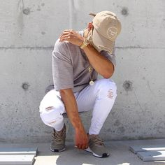 •Baby E - Finessin• whole outfit by @projectxparis distressed cap, grey Tee and white distressed denim ✊