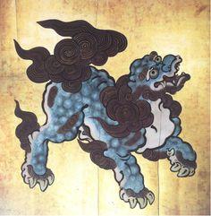 Kano Tsunenobu Lion (shishi), Japan, Edo-Period ca. From a Tokugawa-Mausoleum in Shiba/Edo, Tokyo. Japanese Art Prints, Japanese Artwork, Japanese Painting, Japanese Foo Dog, Japanese Animals, Foo Dog Tattoo, Japan Illustration, Religion In Japan, Japanese Demon Mask