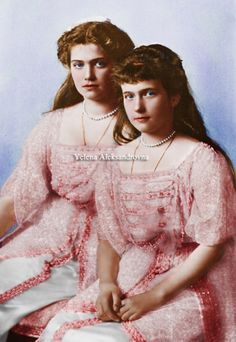 Grand Duchesses Maria and Anastasia Nikolevna of Russia possing for the famous 1914 formal photosession, color by me.