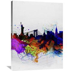 Naxart Studio 'New York Watercolor Skyline 1' Stretched Canvas Wall Art