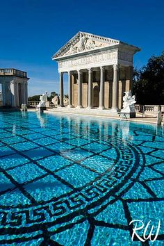 Neptune Pool / Hearst Castle, San Simeon, California. This is beautiful, but the inside pool is lined with real gold.