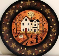 Folk Art Halloween Wood Plate - READY TO SHIP - Hand Painted Primitive Wooden Plate- Raven's Roost Inn, Witch, Black Cats, Crow, Spider webs by RavensBendFolkArt on Etsy