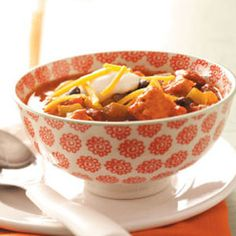 Spicy Chicken Chili Recipe from Taste of Home -- shared by Natalie Hughes of Yukon, Oklahoma  #healthy #under_300_calories #low_fat