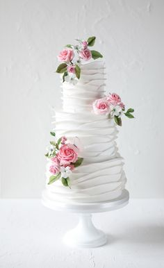 Paula and Darren's romantically ruffled wedding cake adorned with our sweetest bouquets of pink sugar flowers. Round Wedding Cakes, Wedding Cakes With Flowers, Lily Cake, Luxury Cake, Chocolate Fudge Cake, Ruffle Cake, Wedding Cake Inspiration, Beautiful Cakes, Amazing Cakes