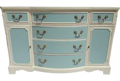 Custom-Painted Buffet this is what I'm doing to my kitchen cabinets.a shiver of fear Recycled Furniture, Furniture Projects, Custom Furniture, Furniture Making, Vintage Furniture, Furniture Decor, House Projects, Painted Buffet, Changing Table Dresser
