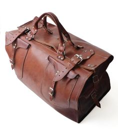 FRENCH VINTAGE 1970's  Genuine Brown Leather by TimeTripAndCo, €208.00