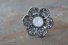 Flower Opal Tragus Earring Cartilage Earring White Opal by MidnightsMojo on Etsy https://www.etsy.com/listing/264442339/flower-opal-tragus-earring-cartilage