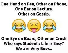Hahaha yes we are very busy funny thoughts, funny images, funny pictures, twisted Latest Funny Jokes, Very Funny Jokes, Really Funny Memes, Funny Facts, Hilarious, Random Facts, Funny Stuff, Exams Funny, Funny School Memes