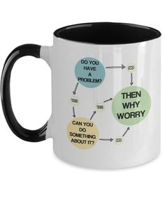 Dont Worry Sarcastic Coffee Mug Gag Funny No Problem Quote Gift Problem Quotes, Why Worry, Best Deals Online, Gift Quotes, Funny Mugs, Black And Navy, No Worries, Something To Do, To My Daughter