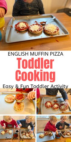 Have your toddler help make their own meal for dinner or lunch with this easy toddler recipe! My twin toddlers love making their own pizzas and they are learning so much such as math skills and life skills from this easy toddler activity! A great cooking activity for toddlers, preschoolers, and kids!