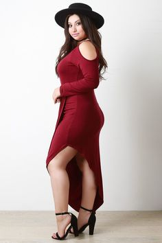 This plus size dress features a soft knit fabrication, long sleeves, cold shoulder cut out, scoop neckline, and a draped asymmetrical maxi skirt. Accessories so Shoulder Cut, Cold Shoulder Dress, Womens Trendy Tops, Draped Skirt, Plus Size Maxi Dresses, Dress Up, Long Sleeve, Skirts, Neckline