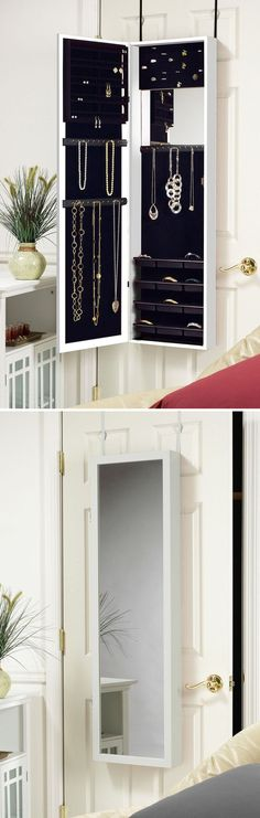 Space-Saving Over-the-Door Jewelry Organizer ♥ #organize #jewely.    I so need this!