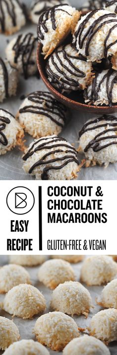 Vegan Macaroons: These are super easy coconut cookies that are both vegan and gluten-free. Gluten Free Sweets, Gluten Free Cookies, Gluten Free Baking, Vegan Baking, Vegan Gluten Free, Paleo, Dairy Free, Coconut Macaroons, Macarons