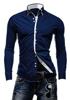 Stylish Mens Slim Fit Casual Italian Double Collar Shirt Long Sleeve M L XL XXL DC12 (M, Navy)