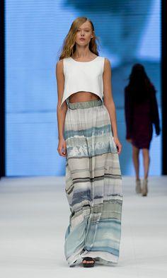 Dorte leather long dress, Frida Gustavsson S/S13 #Dagmar Fashion Show Printed Skirt Model Runway Spring Summer Crop Top
