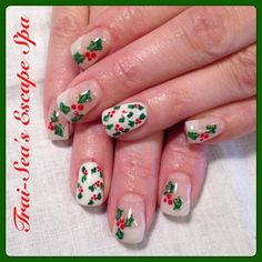 Holly Leaves & Berries by TraiSeasEscape - Nail Art Gallery nailartgallery.nailsmag.com by Nails Magazine www.nailsmag.com #nailart