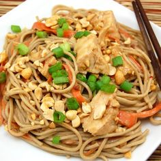 spicy soba noodles w/chicken in peanut sauce. almost but not quite my fave recipe (from tosca reno/clean eating)