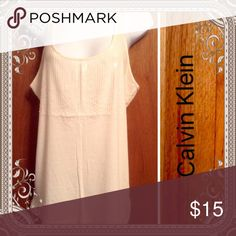 Sequin Racerback🎄$6 Bundled Excellent condition sequined cream tank. Very little use. Calvin Klein Tops Tank Tops