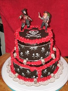 Those cake toppers. Pirate Party Centerpieces, Pirate Wedding, Themed Wedding Cakes, Best Wedding Favors, Crazy Cakes, Pirate Theme, Cupcake Cakes, Cupcakes, Custom Cakes