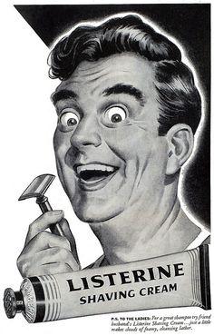 1944, Listerine crema de afeitado. Anuncio vintage