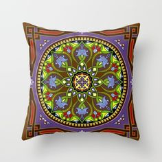 Boho Floral Crest Brown Throw Pillow