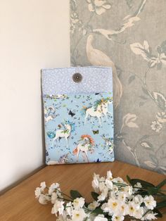 Excited to share this item from my shop: Unicorn ipad case Small White Flowers, Advent Calenders, Small Notebook, Ipad Sleeve, Blue Backgrounds, Ipad Mini, Ipad Case, Compliments, Unicorn