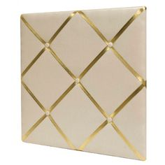 White Linen Bulletin Board with Gold Straps 20x20
