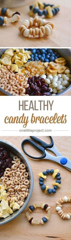 These healthy candy bracelets are such a SIMPLE craft for kids! Collect a fun as… These healthy candy bracelets are such a SIMPLE craft for kids! Collect a fun assortment of dried goods and let them create their own edible jewellery! Healthy Candy, Healthy Snacks For Kids, Kid Snacks, Sports Snacks, Baby Snacks, Camping Snacks, Baby Food Recipes, Snack Recipes, Healthy Recipes