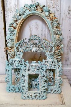 French blue ornate large frame grouping by AnitaSperoDesign, $275.00
