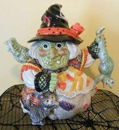 fitz floyd halloween 2006 witch teapot