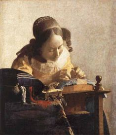 Cross stitch chart: The Lacemaker - Johannes Vermeer