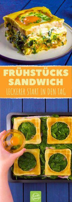 Sandwich, Auflauf, großes Frühstück? Egal, Hauptsache lecker! #rezept #rezepte #sandwich #huhn #frühstück #toast #auflauf #ei #spinat